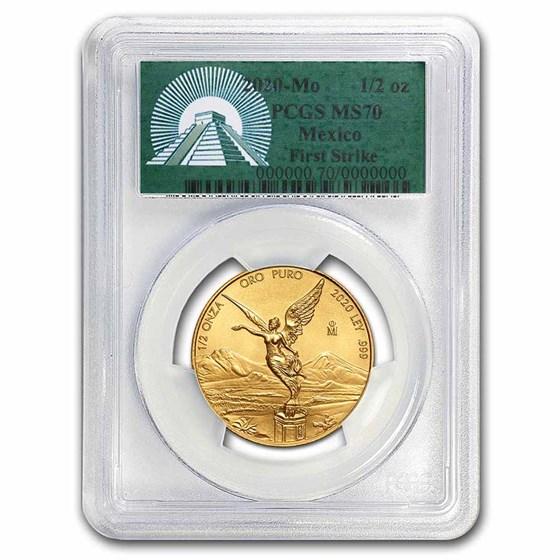 2020 Mexico 1/2 oz Gold Libertad MS-70 PCGS (FS, Green Label)