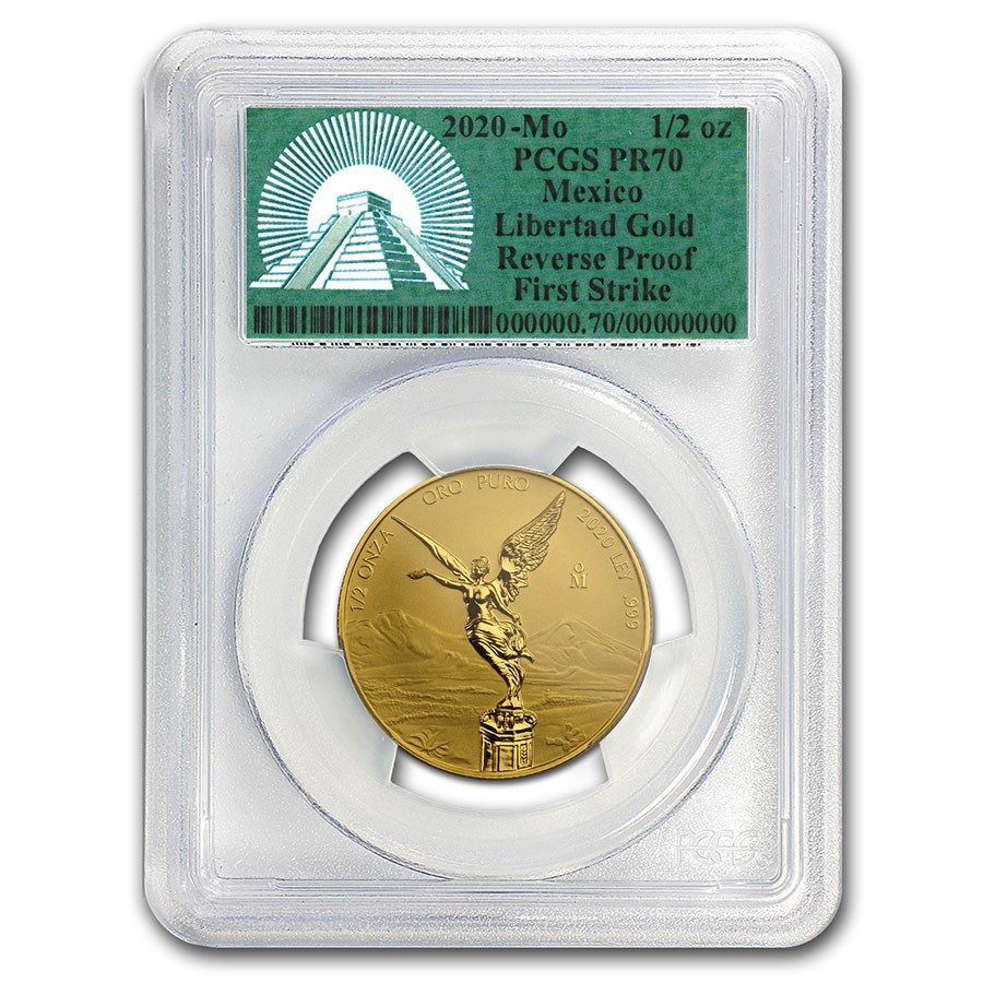 2020 Mexico 1/2 oz Reverse Proof Gold Libertad PR-70 PCGS (FS)