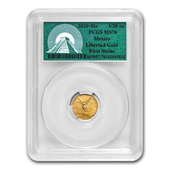 2020 Mexico 1/20 oz Gold Libertad MS-70 PCGS (FS, Green Label)