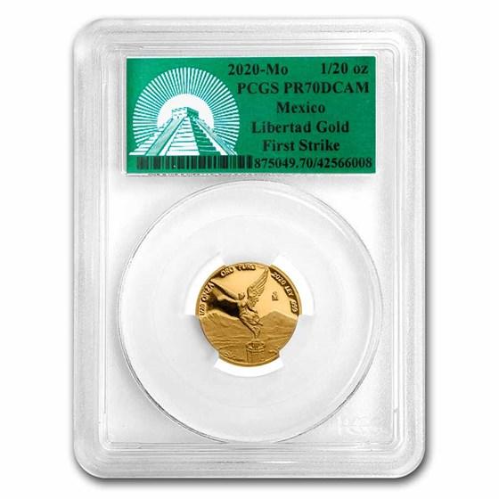 2020 Mexico 1/20 oz Pf Gold Libertad PR-70 PCGS (FS, Green Label)