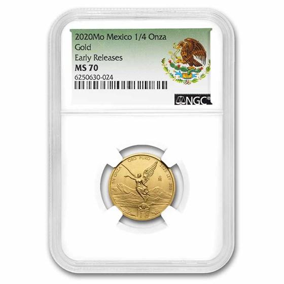 2020 Mexico 1/4 oz Gold Libertad MS-70 NGC (ER, Coat of Arms)
