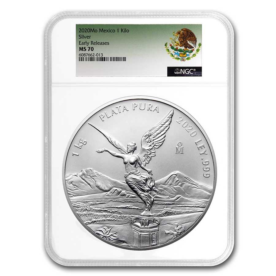2020 Mexico 1 kilo Silver Libertad MS-70 NGC (ER, Coat of Arms)