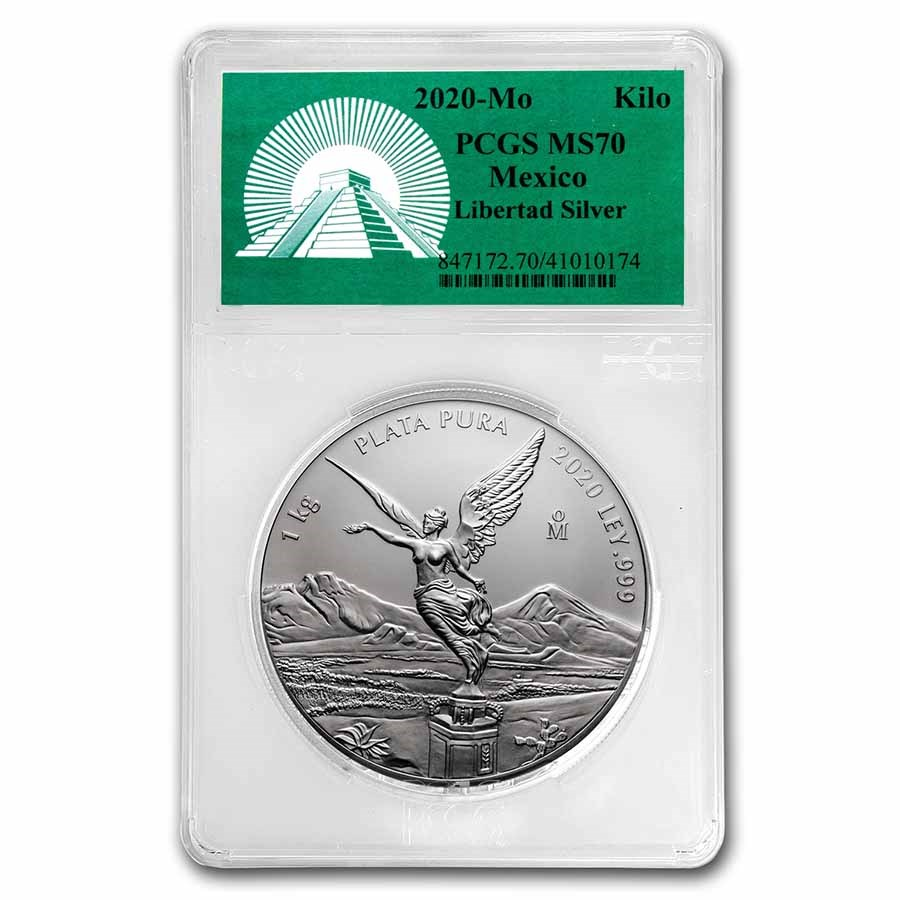 2020 Mexico 1 kilo Silver Libertad MS-70 PCGS (Green Label)