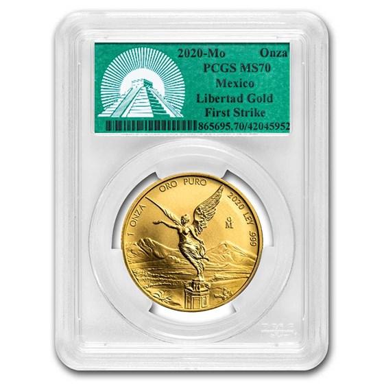 2020 Mexico 1 oz Gold Libertad MS-70 PCGS (FS, Green Label)
