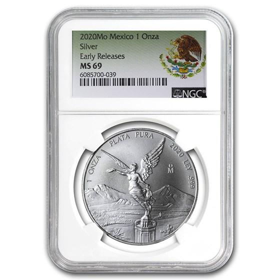 2020 Mexico 1 oz Silver Libertad MS-69 NGC (ER, Coat of Arms)