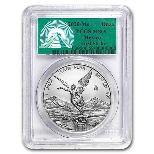 2020 Mexico 1 oz Silver Libertad MS-69 PCGS (FS, Green Label)