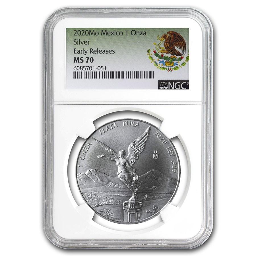 2020 Mexico 1 oz Silver Libertad MS-70 NGC (ER, Coat of Arms)