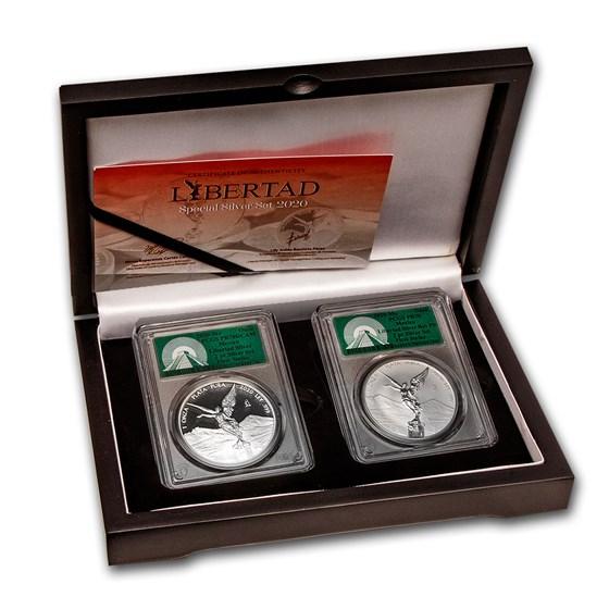 2020 Mexico 2-Coin Silver Libertad Prf/Rev Prf Set PR-70 PCGS FS