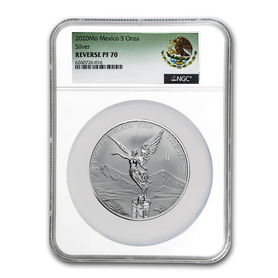 2020 Mexico 5 oz Silver Libertad Reverse Proof PF-70 NGC