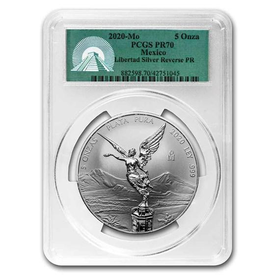 2020 Mexico 5 oz Silver Libertad Reverse Proof PR-70 PCGS