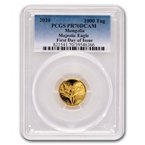 2020 Mongolia 1/10 oz Gold Proof Majestic Eagle PR-70 PCGS FDOI