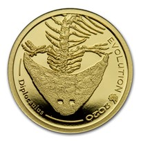 2020 Mongolia 1/2 gram Proof Gold Evolution (Diplocaulus)