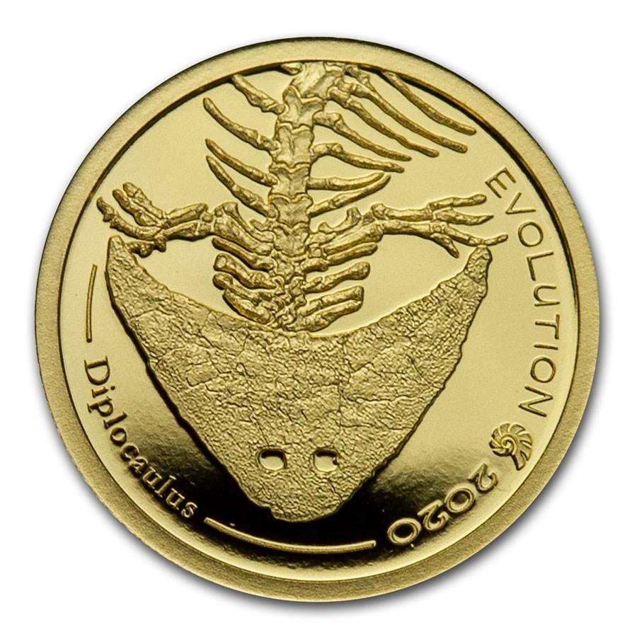 2020 Mongolia 1/2 gram Proof Gold Evolution (Diplocaulus)