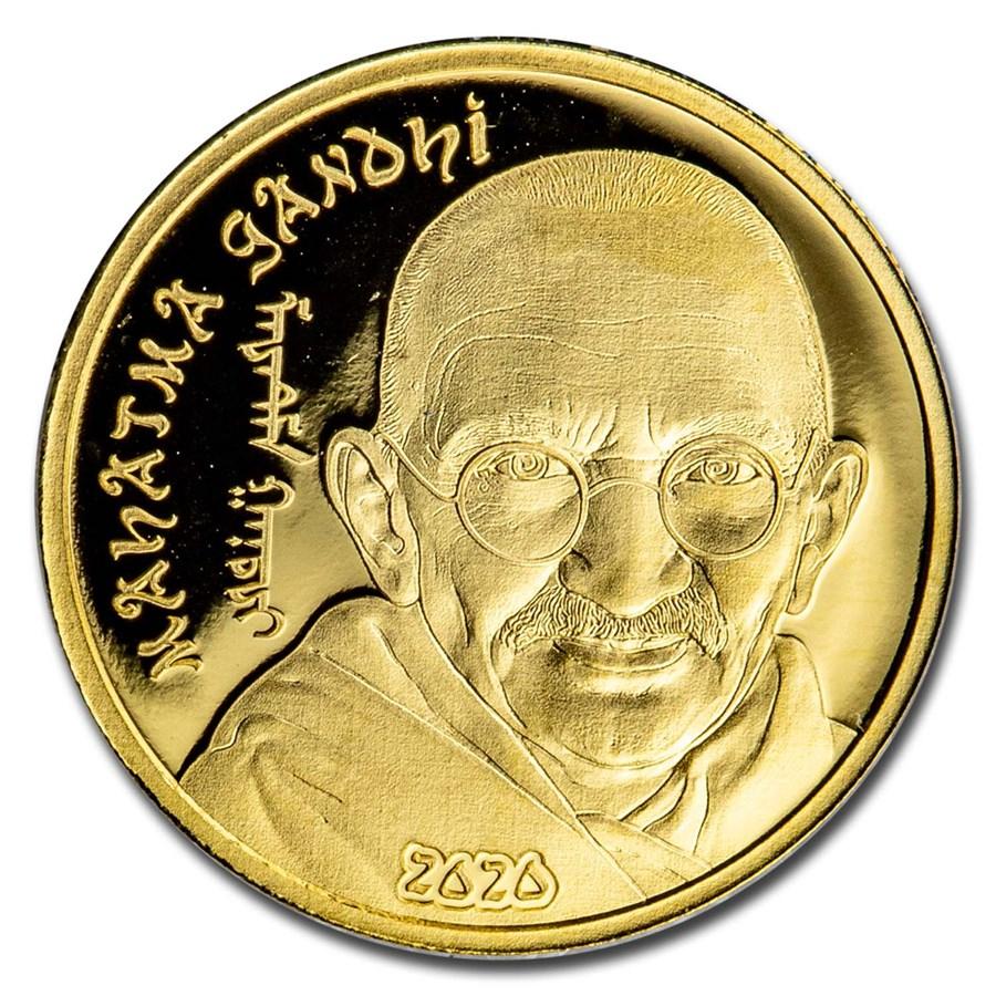 2020 Mongolia 1/2 gram Proof Gold Revolutionaries: Mahatma Gandhi