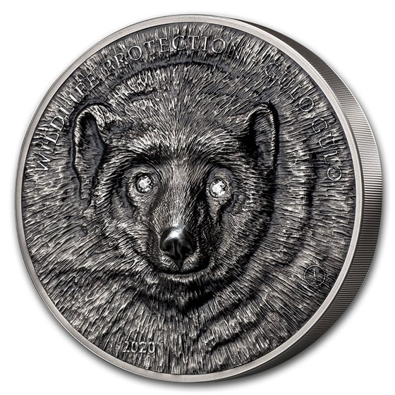 2020 Mongolia 1 kilo Antique Silver Wildlife Gulo Gulo -Wolverine