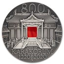2020 Mongolia 2 oz Antique Silver Karakorum 800th Anniv BU