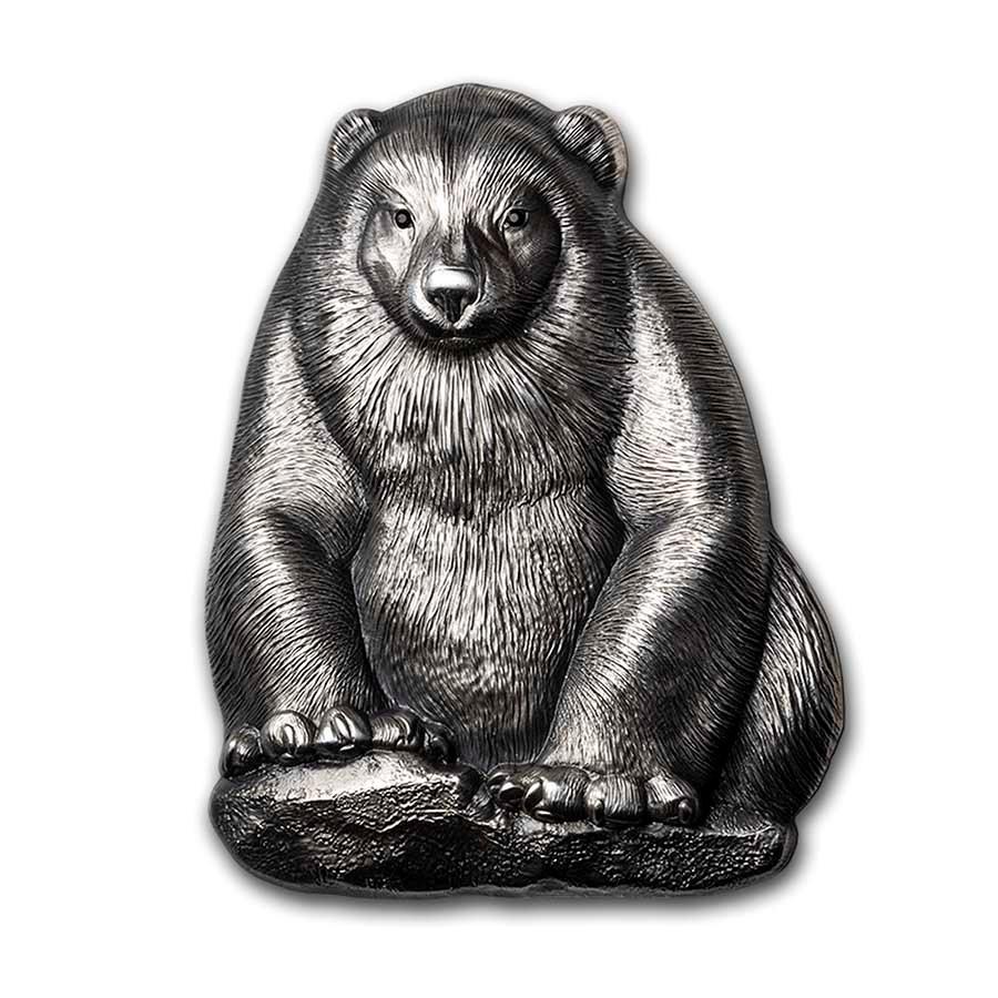 2020 Mongolia 2 oz Silver 3D Mongolian Wildlife Shaped Gulo Gulo
