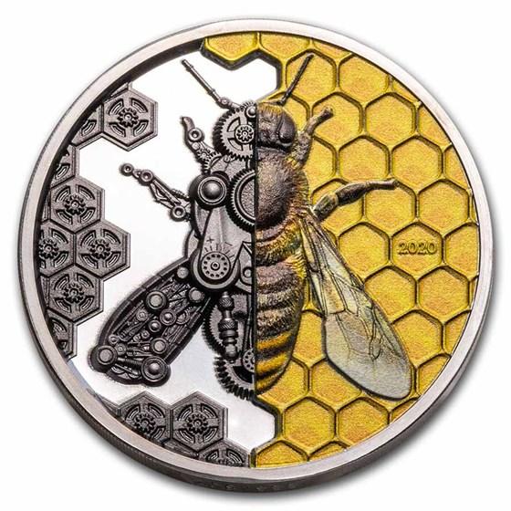 2020 Mongolia 3 oz Silver Clockwork Evolution: Mechanical Bee