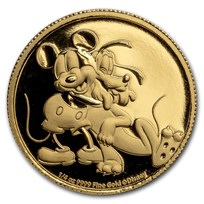 2020 Niue 1/4 oz Gold Proof $25 Disney Pluto's 90th Anniversary