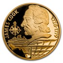 2020 Niue 1/4 oz Gold Proof On Waves: James Cook