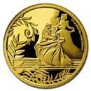 2020 Niue 1/4 oz Proof Gold $25 Cinderella 70th Anniversary