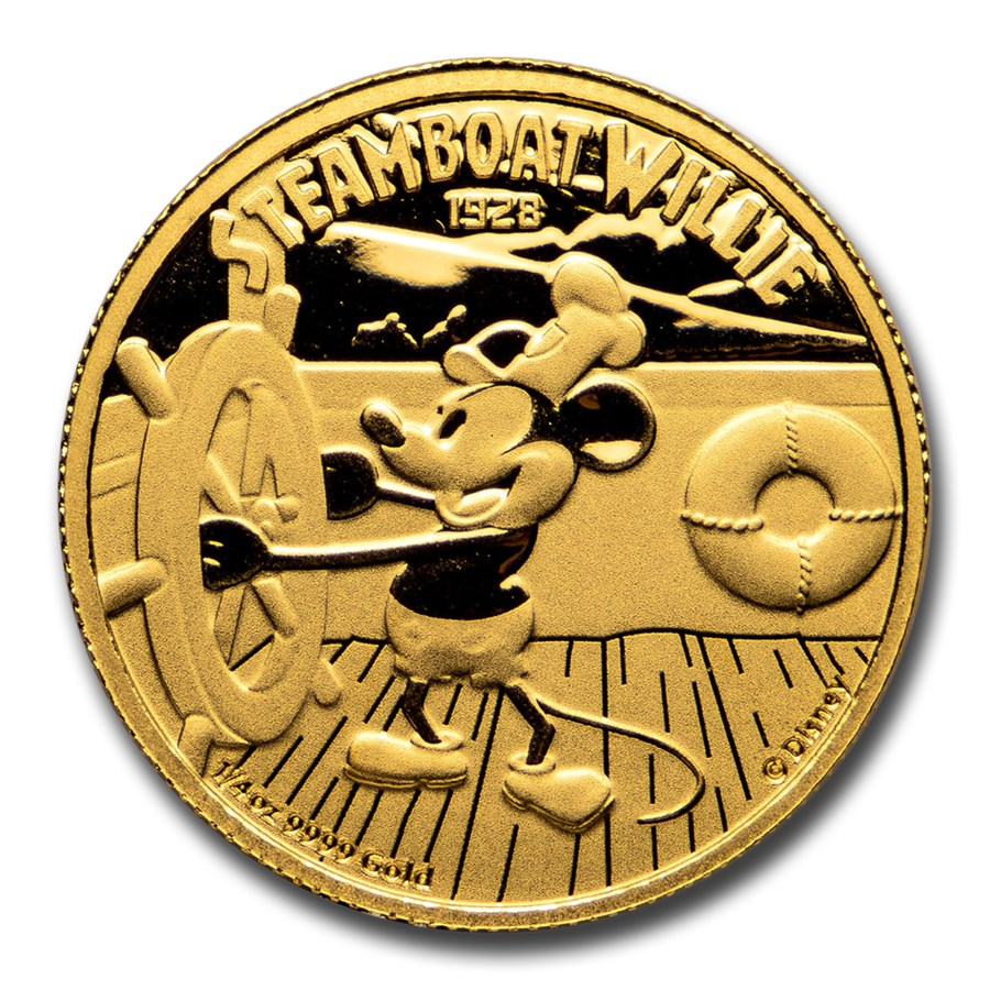 2020 Niue 1/4 oz Proof Gold $25 Disney Steamboat Willie