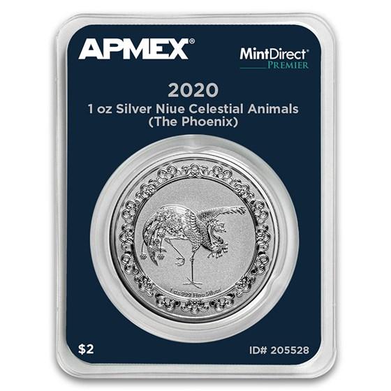 2020 Niue 1 oz Ag $2 Celestial Animals: The Phoenix (MD® Premier)