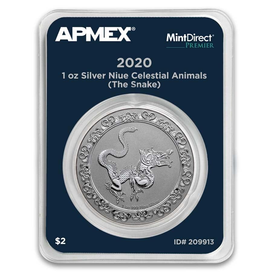 2020 Niue 1 oz Ag $2 Celestial Animals: The Snake (MD® Premier)