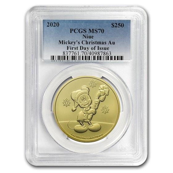 2020 Niue 1 oz Gold $250 Disney Mickey Christmas MS-70 PCGS (FD)