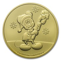 2020 Niue 1 oz Gold $250 Disney Mickey Mouse Christmas BU