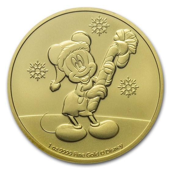 2020 Niue 1 oz Gold $250 Disney Mickey Mouse Christmas BU