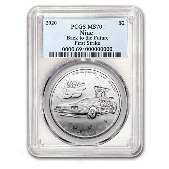 2020 Niue 1 oz Silver $2 Back to the Future 35th MS-70 PCGS (FS)