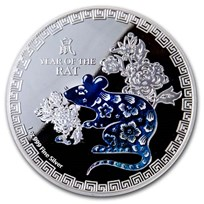 2020 Niue 1 oz Silver $2 Colorized Lunar Year of the Rat