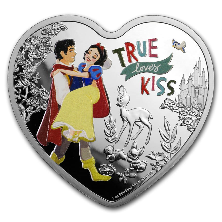 2020 Niue 1 oz Silver $2 Disney Heart-Shaped Love Snow White