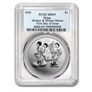 2020 Niue 1 oz Silver $2 Disney Mickey & Minnie MS-69 PCGS (FD)