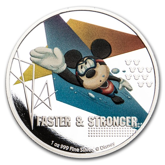 2020 Niue 1 oz Silver $2 Disney Mickey Mouse: Faster & Stronger