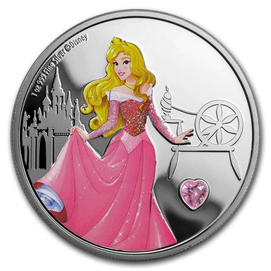 2020 Niue 1 oz Silver $2 Disney Princess Aurora w/Gemstone