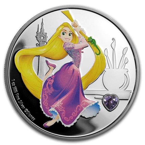 2020 Niue 1 oz Silver $2 Disney Princess Rapunzel w/Gemstone