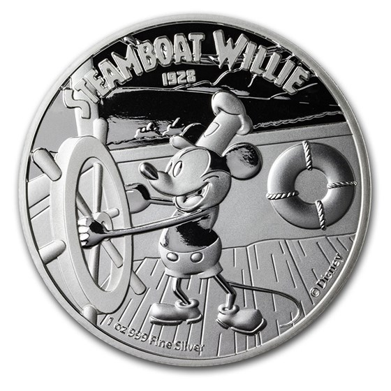 2020 Niue 1 oz Silver $2 Disney Steamboat Willie