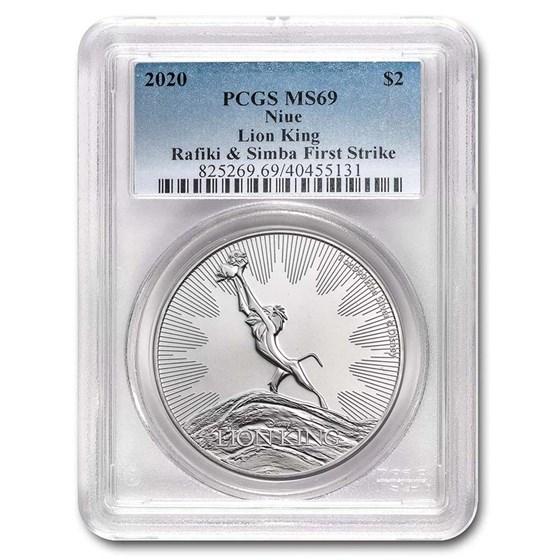 2020 Niue 1 oz Silver $2 Lion King Circle of Life MS-69 PCGS (FS)