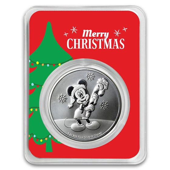 2020 Niue 1 oz Silver $2 Mickey Christmas in Christmas Tree TEP