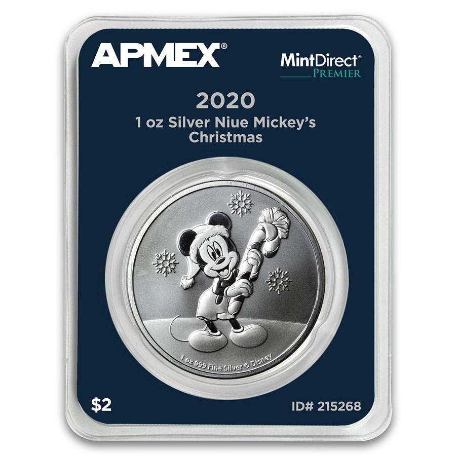 2020 Niue 1 oz Silver $2 Mickey Christmas (MD® Premier Single)