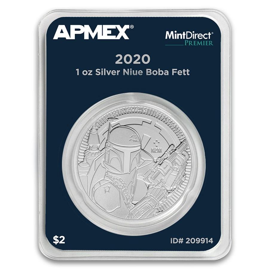2020 Niue 1 oz Silver $2 Star Wars Boba Fett (MD® Premier Single)