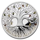 2020 Niue 1 oz Silver Proof Crystal Coin: Tree of Life - Autumn