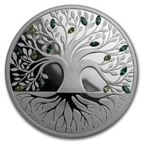 2020 Niue 1 oz Silver Proof Crystal Coin: Tree of Life