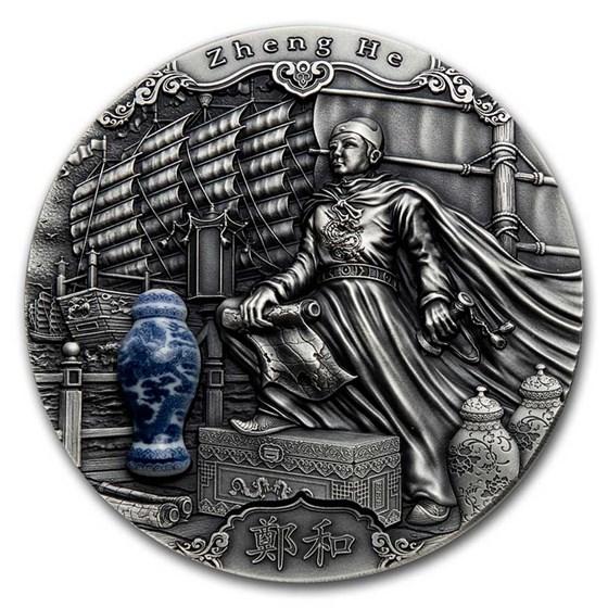 2020 Niue 2 oz Antique Silver Famous Explorers; Zheng He