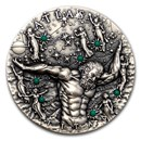 2020 Niue 2 oz Antique Silver Greek Titans Atlas