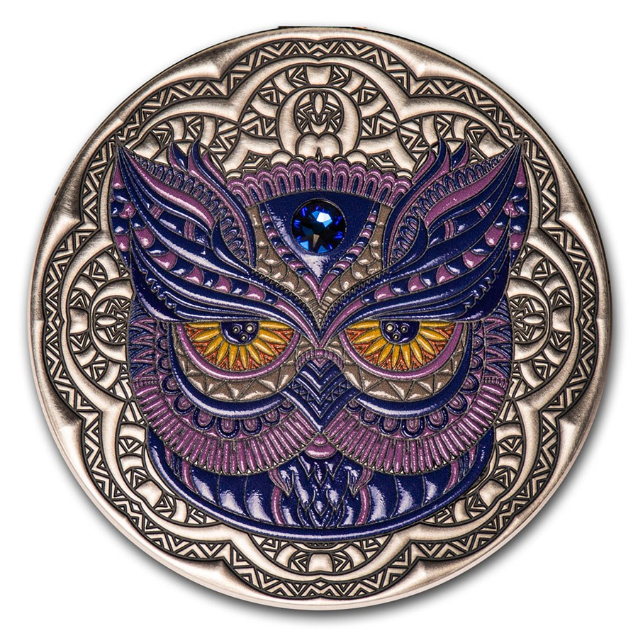 2020 Niue 2 oz Antique Silver Mandala Collection: Owl