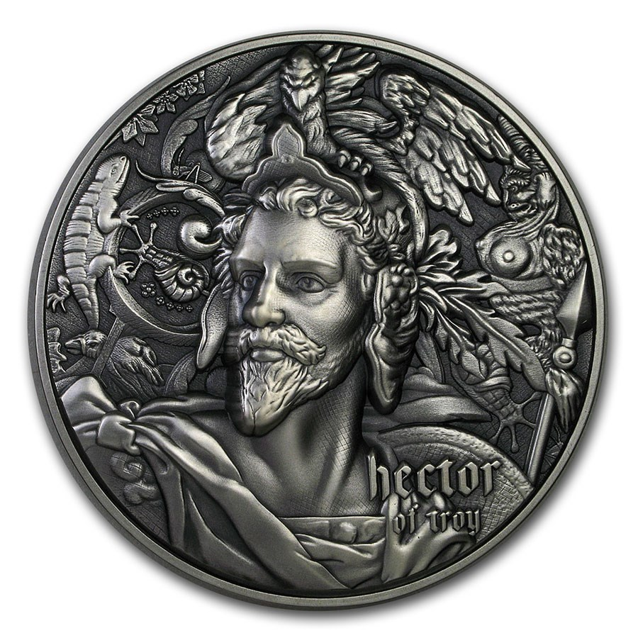 2020 Niue 2 oz Antique Silver Nine Worthies: Hector of Troy