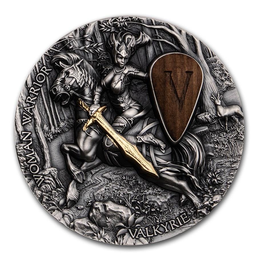 2020 Niue 2 oz Antique Silver Woman Warrior: Valkyrie